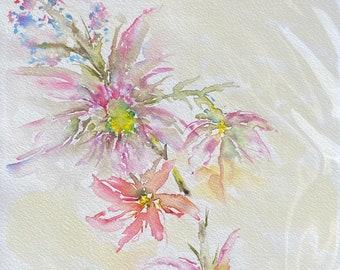 Pink Bursting Flowers (Original Watercolor Painting)
