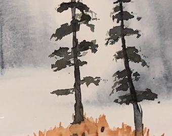 Tall Trees (Original Mini Watercolor Painting)