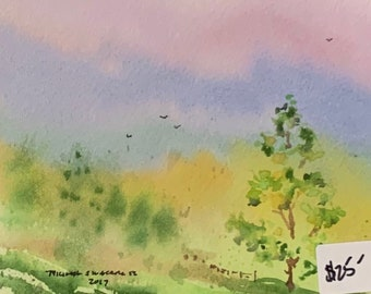 Pink and Purple Skies (Original Mini Watercolor Painting)