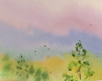 Pink and Purple Skies (Original Mini Watercolor Painting)