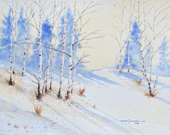 Blue Snowy Birch Tree Forest (Original Watercolor Painting)