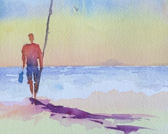 Person Fishing on Ocean Shore (Original Watercolor Painting)