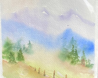 Blue and Purple Sky with Fence (Original Watercolor Painting)