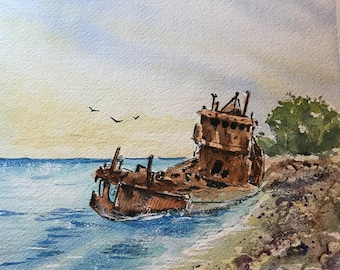 Shipwreck (Original Watercolor Painting)