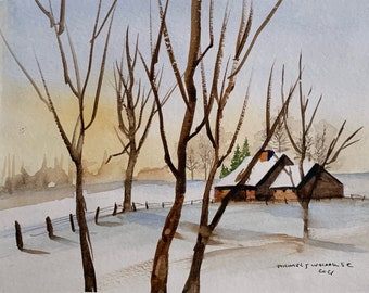 Morning Sunrise Holderness NH (Original Watercolor Painting)