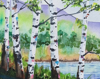 Birch Tree Lake Mountain Scape (Original Watercolor Painting)