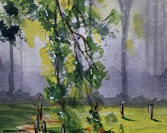 Springtime Forest (Original Watercolor Painting)