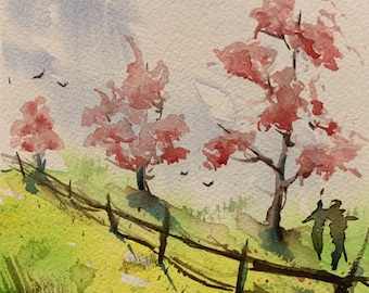 Pink Spring Trees (Original Watercolor Painting)