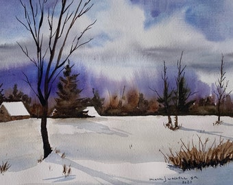 Holderness NH Winter Landscape 1 (Original Watercolor Painting)