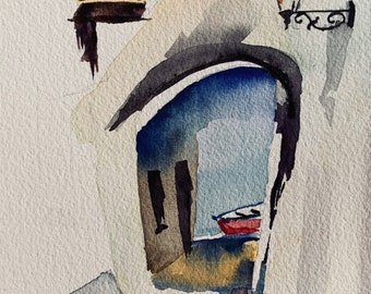 Boat Under Archway (Original Watercolor Painting)