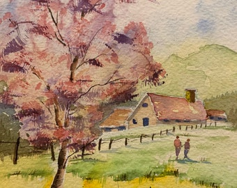 Farm Scene with Pink Spring Tree (Original Watercolor Painting)