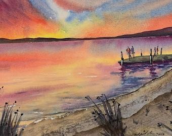Sunset at Dock (Original Watercolor Painting)