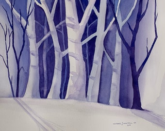 Negative Space Blue Trees Painting (Original Watercolor Painting)
