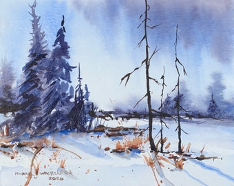 Winter Wonderland Landscape (Original Watercolor Painting)