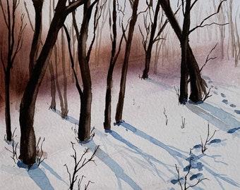 Footprints in the Snow (Original Watercolor)