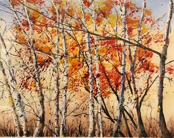 Birch Tree Forest in the Fall (Original Watercolor Painting)