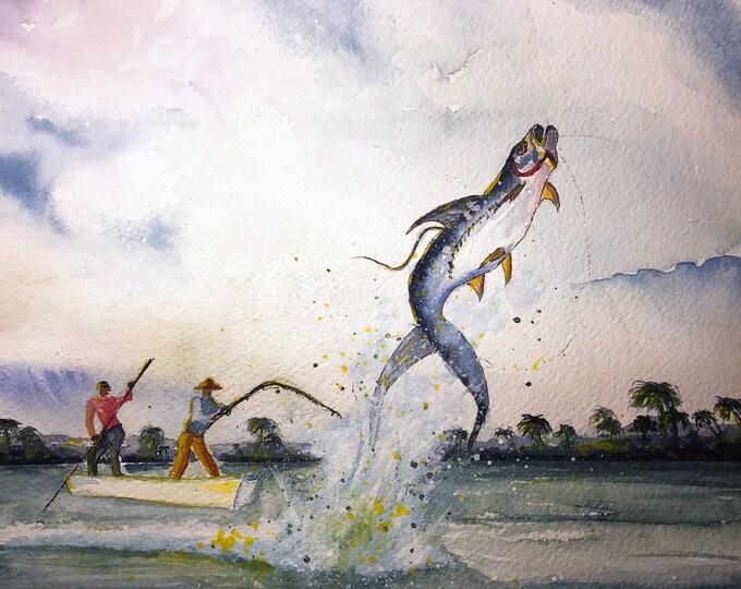 Featured listing image: Tarpin (Original Watercolor Painting)