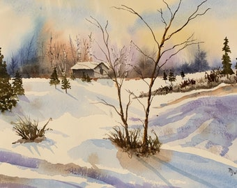 Shadows in the Snow (Original Watercolor Painting) Winter Landscape
