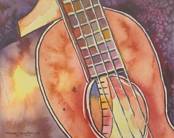 Acoustic Bass (Original Watercolor Painting)