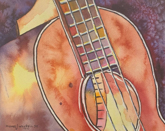 Featured listing image: Acoustic Bass (Original Watercolor Painting)
