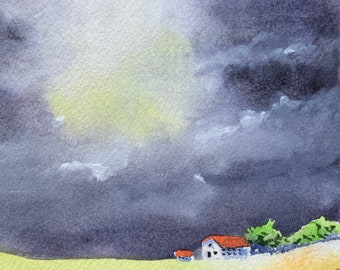 Dark Sky Overlooking Farm Field (Original Watercolor Painting)