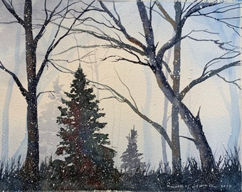 Snowy Winter Landscape in Woods (Original Watercolor Painting)