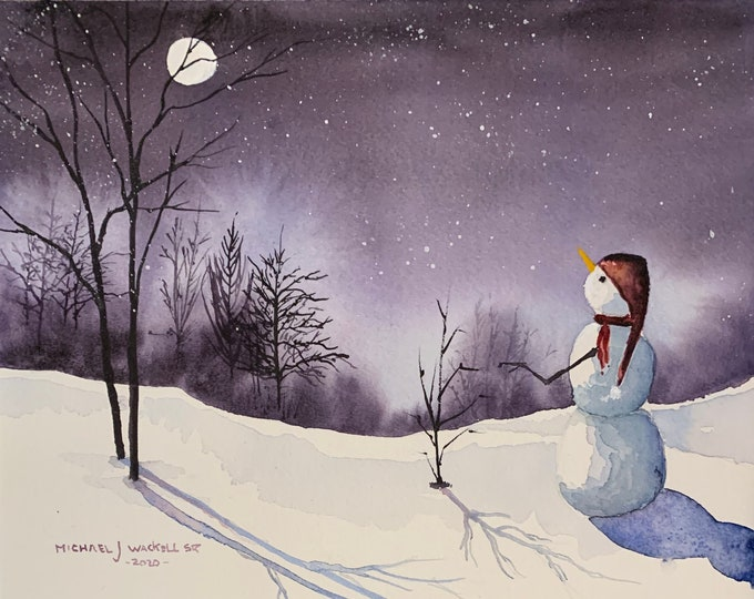 Featured listing image: Moon Gazing Snowman on a Winter Night (Original Watercolor Painting)