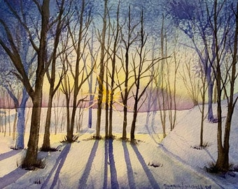 Sunrise Behind the Trees (Original Watercolor Painting)