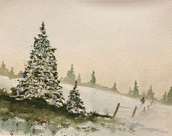 Hiking (Original Watercolor Painting) Winter Spruce Trees