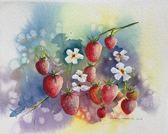 Bright Red Strawberries and Flowers (Original Watercolor Painting)