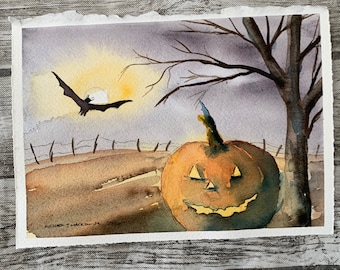 Spooky Jack O' Lantern and Bat (Original Watercolor Painting)