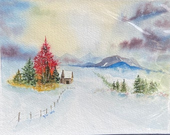 Red Tree and Purple Sky Winter Landscape (Original Watercolor Painting)