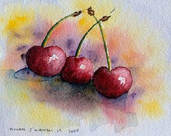 Red Juicy Cherries (Original Watercolor Painting) Unframed