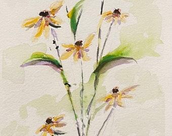 "Tall Yellow Daisies (Original Watercolor Painting 4""x9"")"