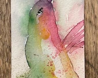 "Watercolor Hummingbird Bookmark (Original Painting 3""x7"")"