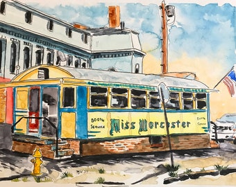 Miss Worcester Diner in Worcester MA (Original Watercolor Painting)