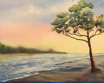 Tree on Beach at Sunset (Original Watercolor Painting)
