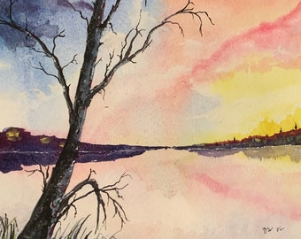 Warm and Cold Lake (Original Watercolor Painting)