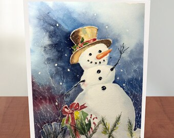 Set of 4 Cards with Envelopes Happy Snowman