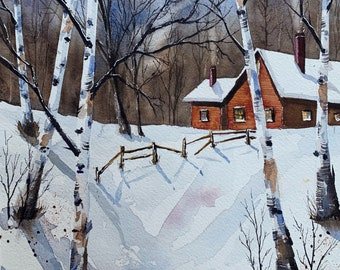 "Barn in a Wintery Landscape (Original Watercolor Painting 8""x10"")"