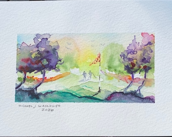 Golf Hole with Purple Trees (Original Watercolor Painting)