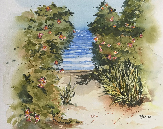 Featured listing image: Ocean View Path (Original Watercolor Painting)