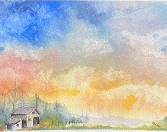 Rainbow Sky with Small House (Original Watercolor Painting)