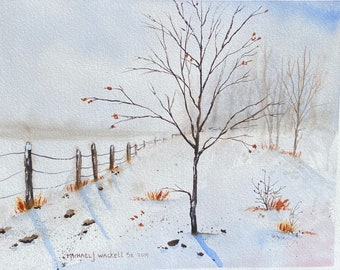 Cold Winter Landscape with Fence and Tree (Original Watercolor Painting)