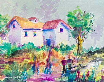 Neon Color Home in the Field (Original Watercolor Painting)