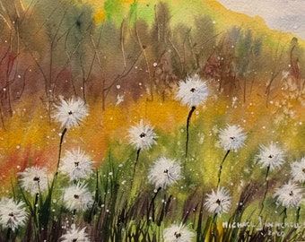 Colorful Field with Dandelions (Original Watercolor Painting)