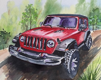 Red Jeep (Original Watercolor Painting)