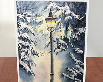 Set of 4 Cards with Envelopes Snowy Lamp Post