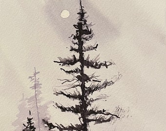 "Black Winter Tree Against a Gray Sky (Original Watercolor Painting 5""x7"")"