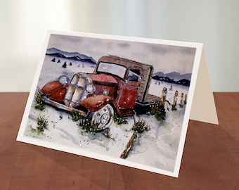 Set of 4 Cards with Envelopes Red Chevy Truck